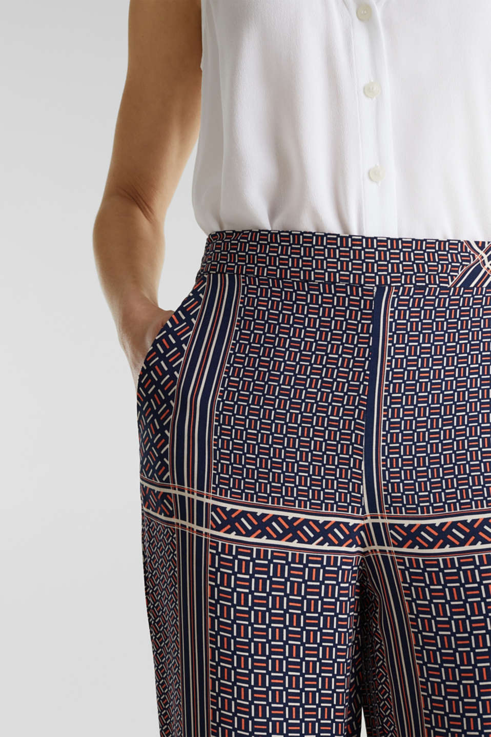 Palazzo Trousers with a modern tribal print, NAVY, detail image number 0