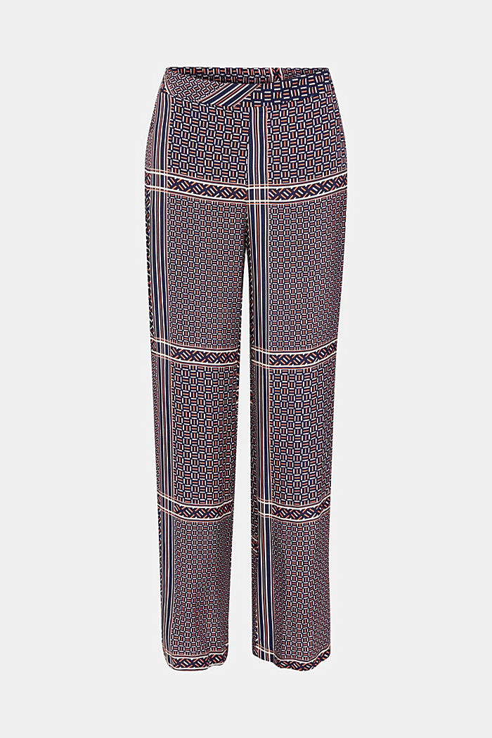 Palazzo Trousers with a modern tribal print, NAVY, detail image number 4