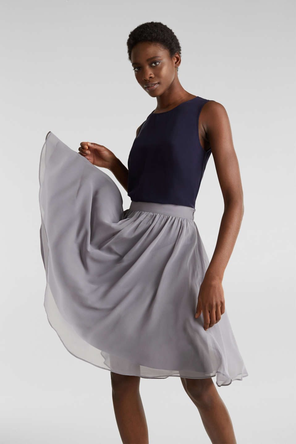 Swirling chiffon skirt, GREY, detail image number 0