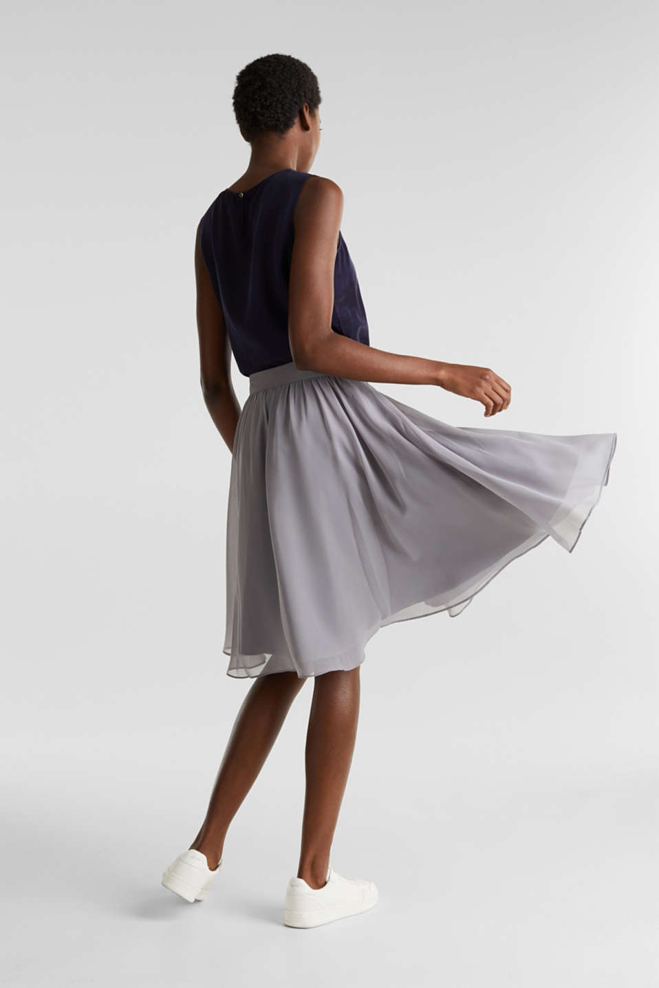Swirling chiffon skirt, GREY, detail image number 3