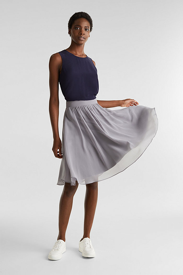 Swirling chiffon skirt, GREY, detail image number 1