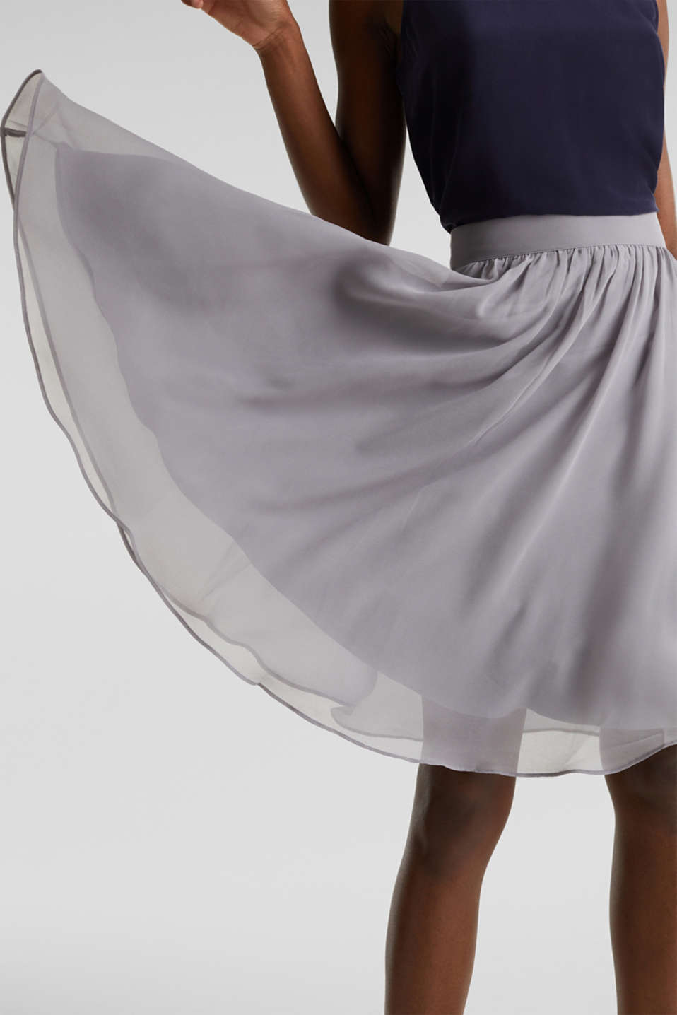 Swirling chiffon skirt, GREY, detail image number 2