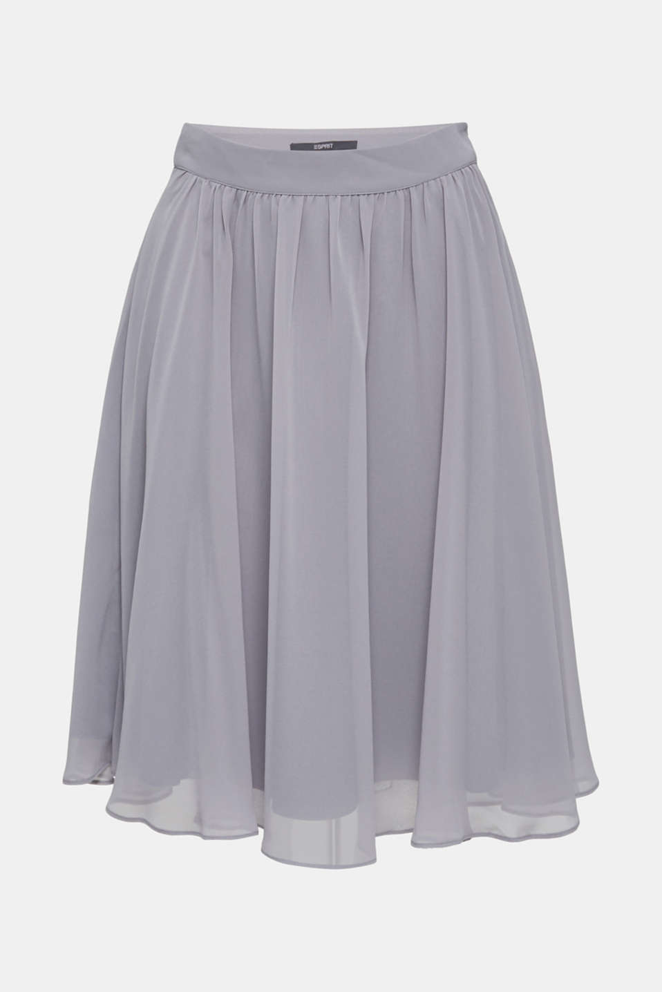 Swirling chiffon skirt, GREY, detail image number 5