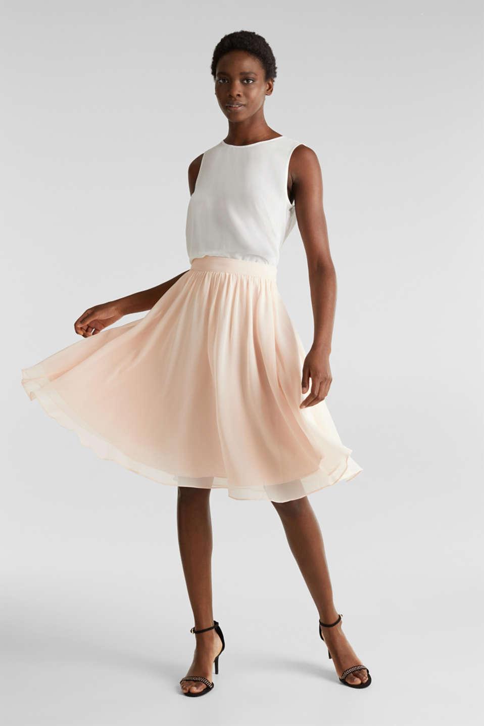 Swirling chiffon skirt, PASTEL PINK, detail image number 1