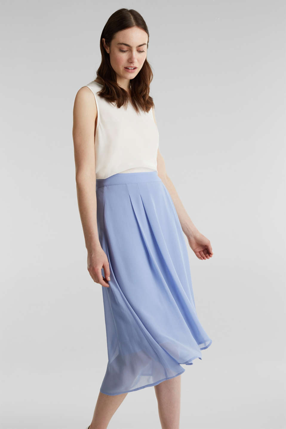 Esprit - Chiffon skirt with a high-low hem
