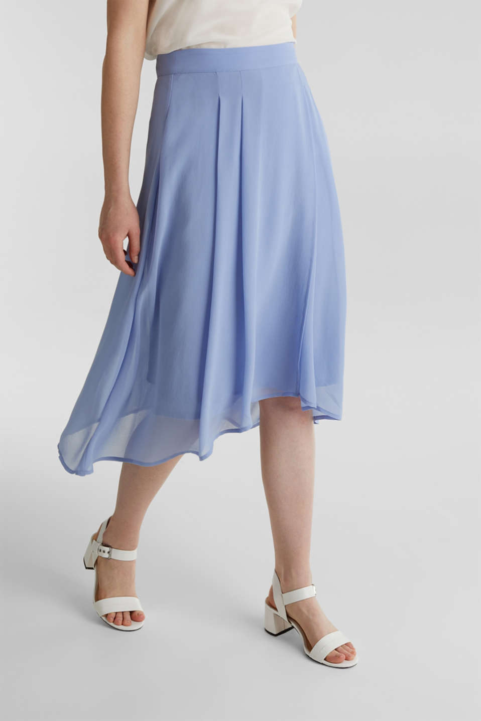 Chiffon skirt with a high-low hem, BLUE LAVENDER, detail image number 6