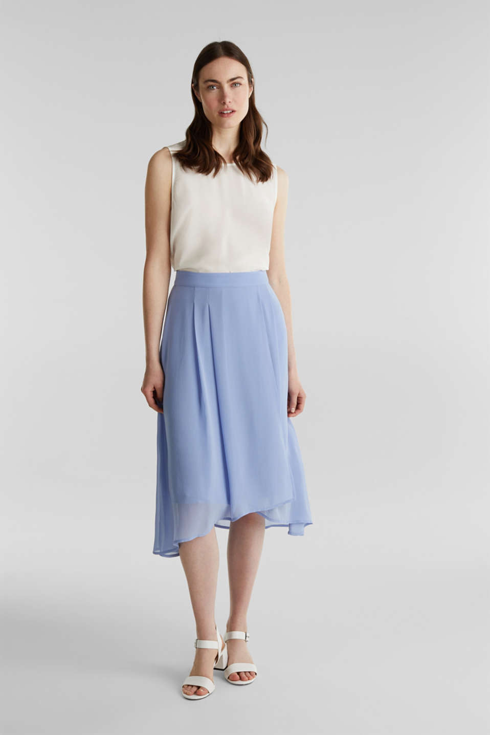 Chiffon skirt with a high-low hem, BLUE LAVENDER, detail image number 1