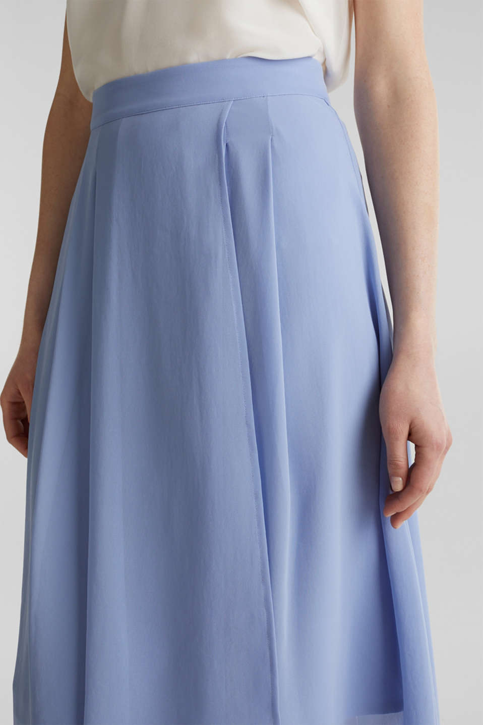 Chiffon skirt with a high-low hem, BLUE LAVENDER, detail image number 2