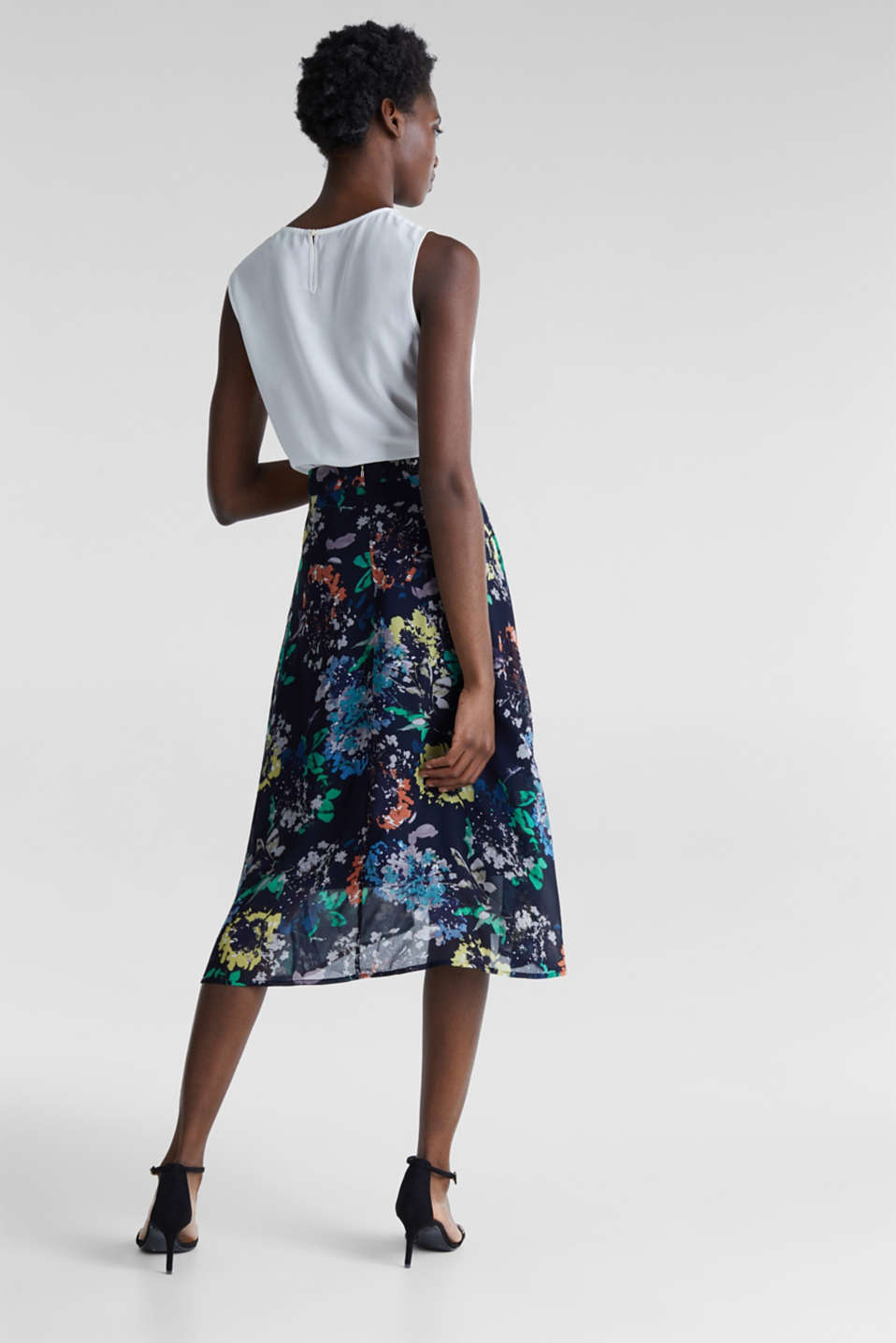 Crêpe skirt with a print, NAVY 4, detail image number 3