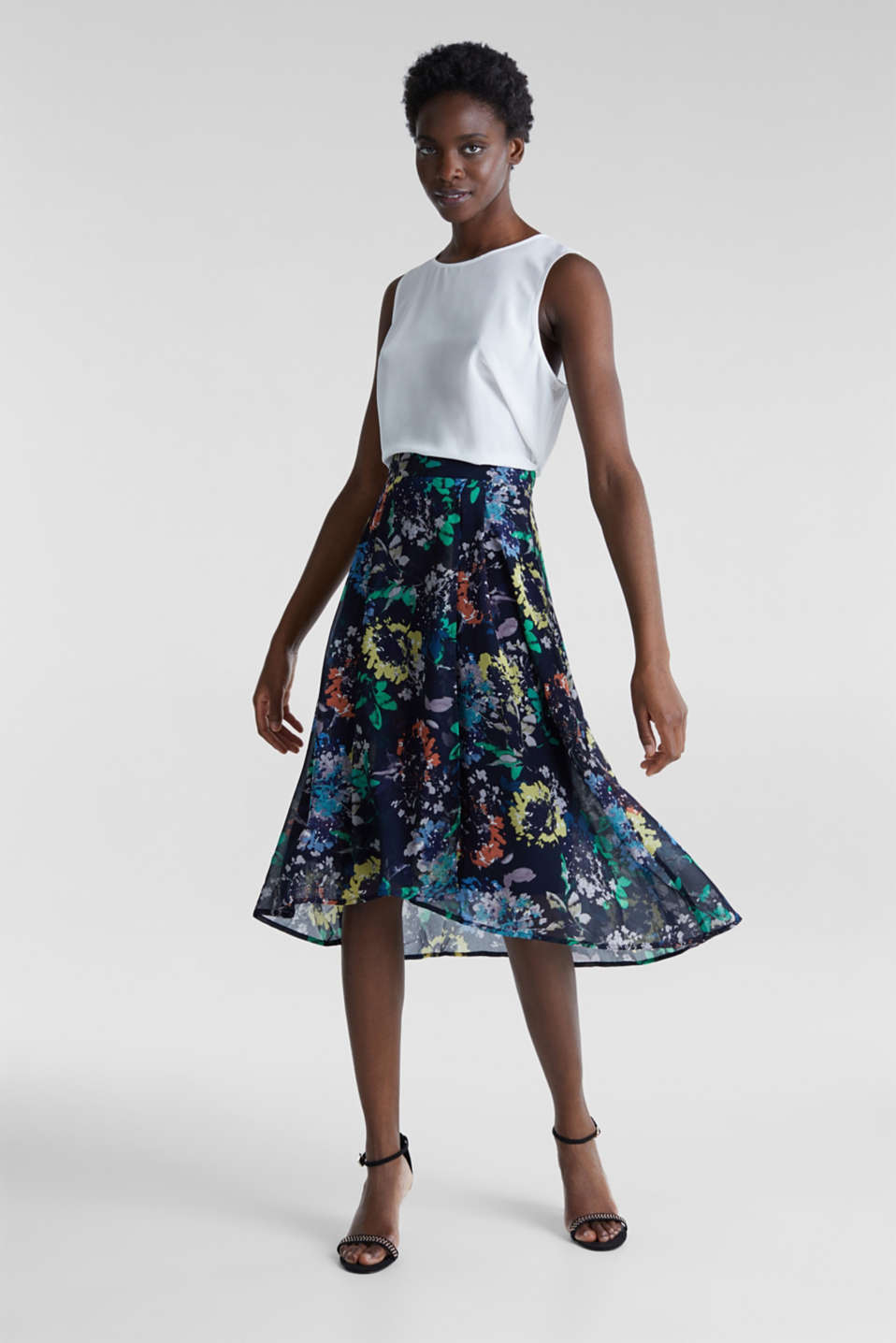 Crêpe skirt with a print, NAVY 4, detail image number 1