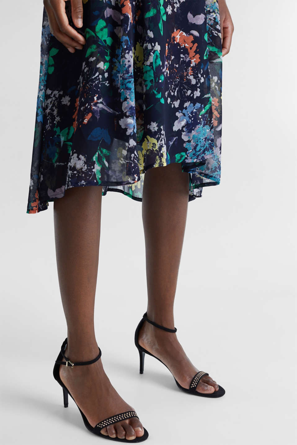 Crêpe skirt with a print, NAVY 4, detail image number 2