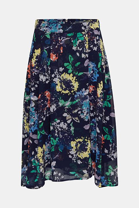Floral crêpe skirt with a high-low hem