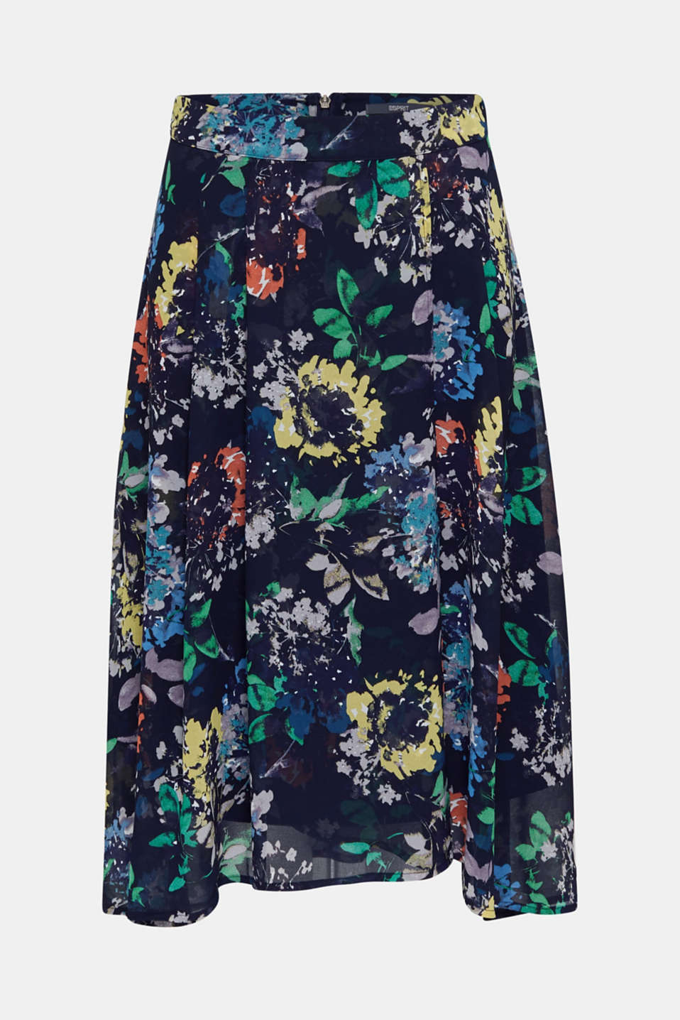 Crêpe skirt with a print, NAVY 4, detail image number 7