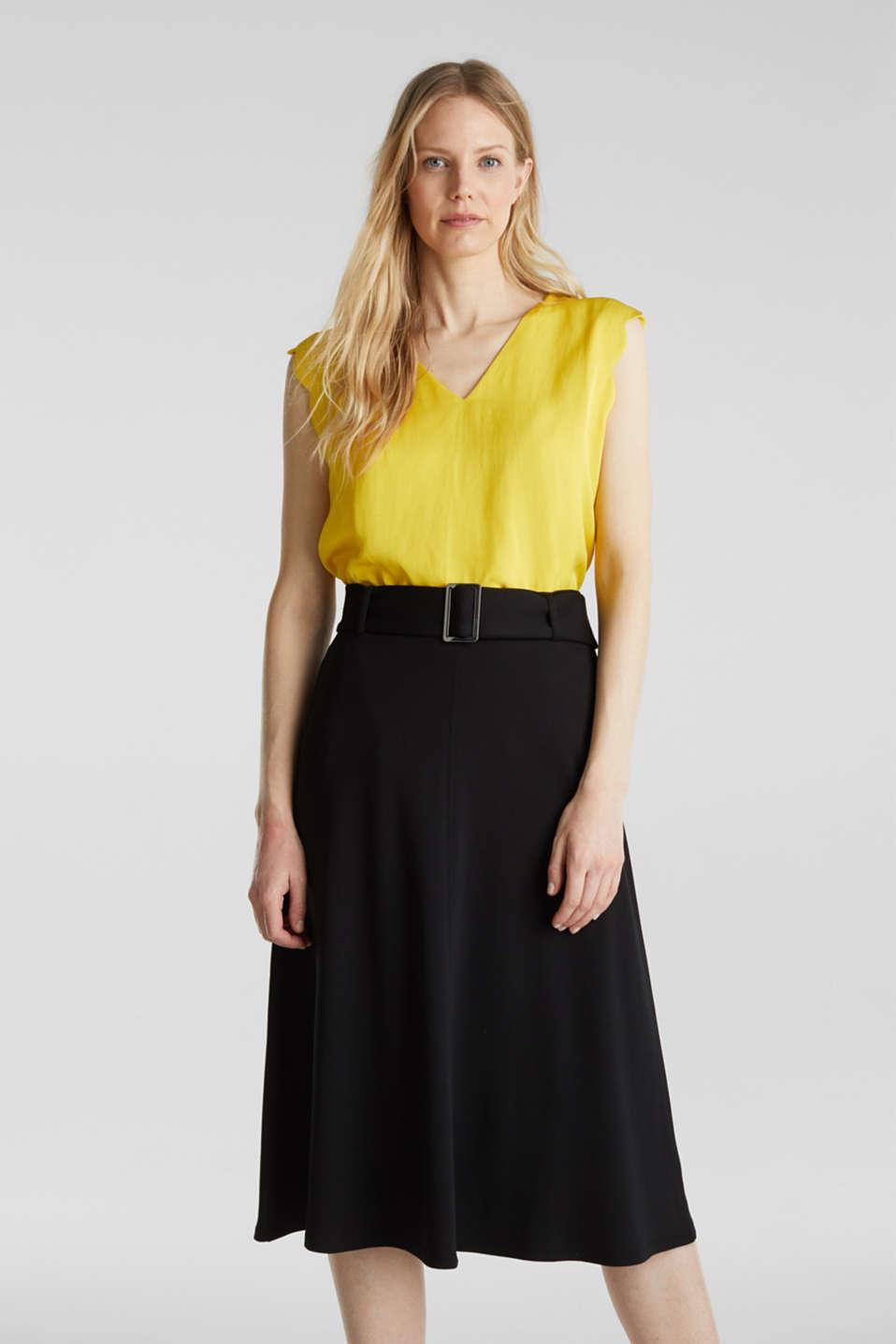 Melange A-line jersey skirt, BLACK, detail image number 0