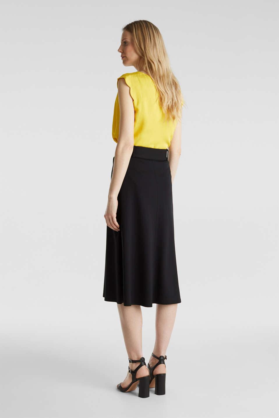 Melange A-line jersey skirt, BLACK, detail image number 3