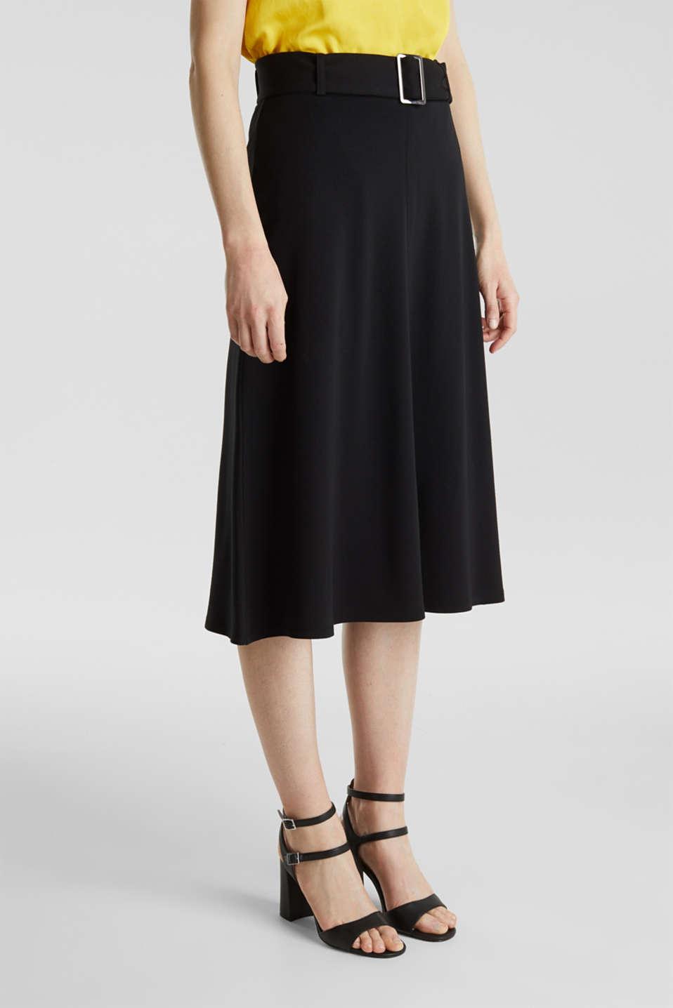 Melange A-line jersey skirt, BLACK, detail image number 5
