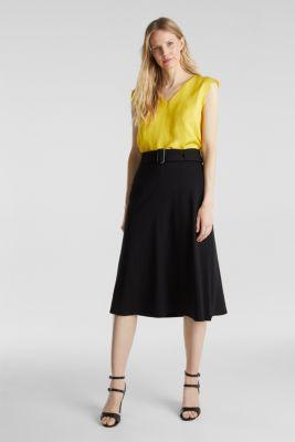 Melange A-line jersey skirt, BLACK, detail