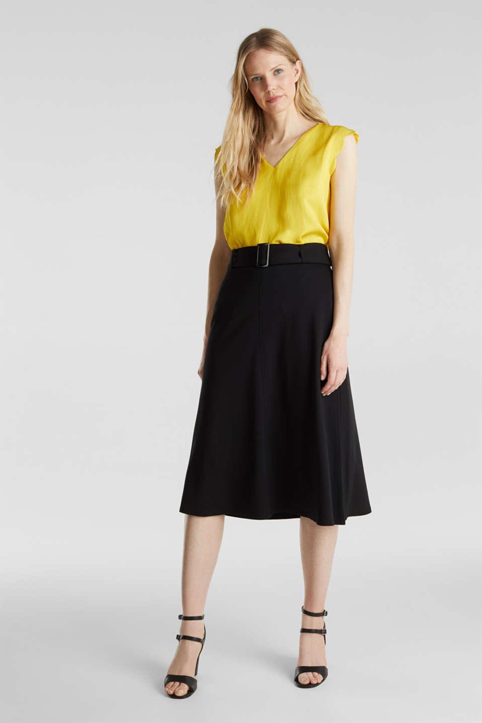 Melange A-line jersey skirt, BLACK, detail image number 1