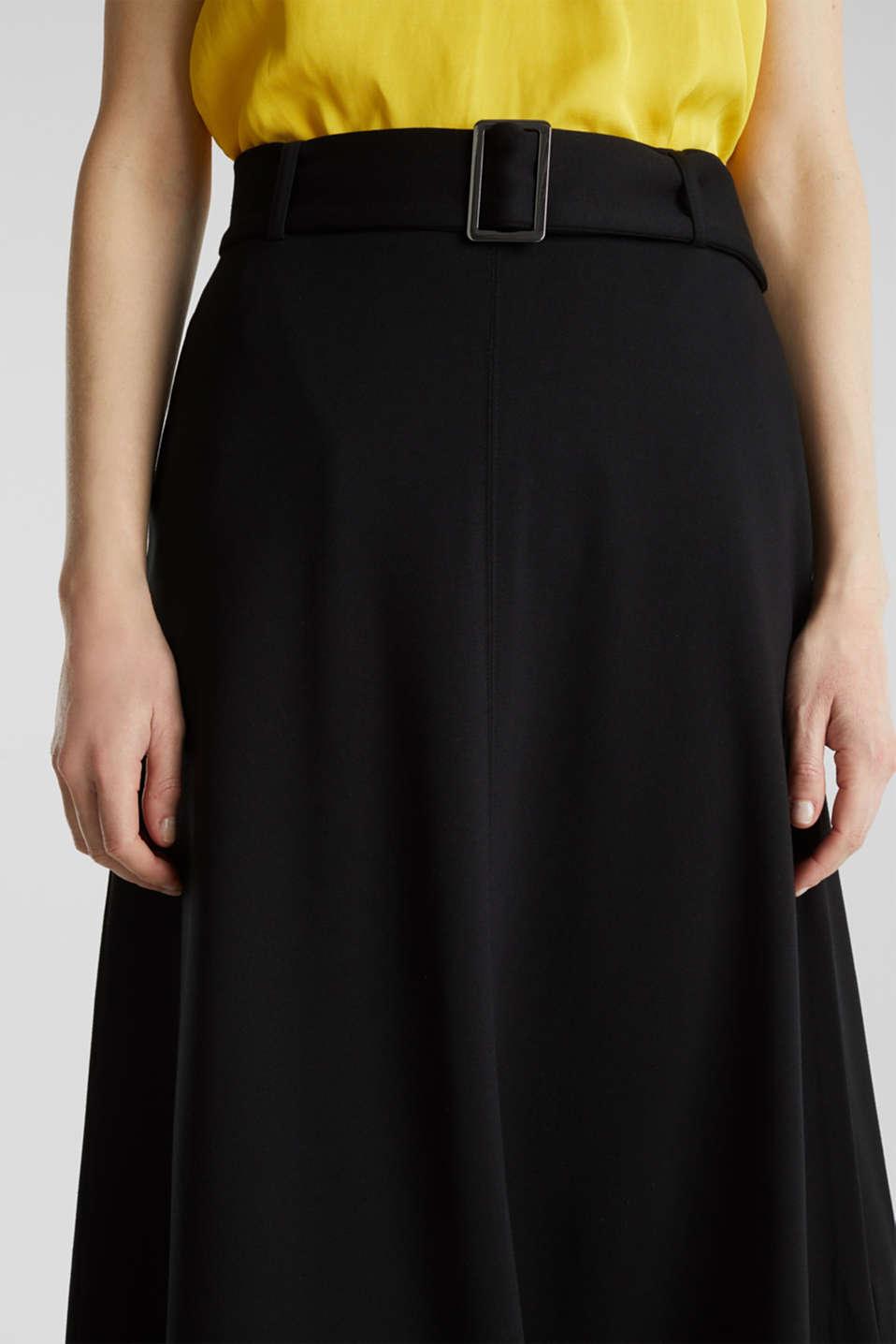 Melange A-line jersey skirt, BLACK, detail image number 2