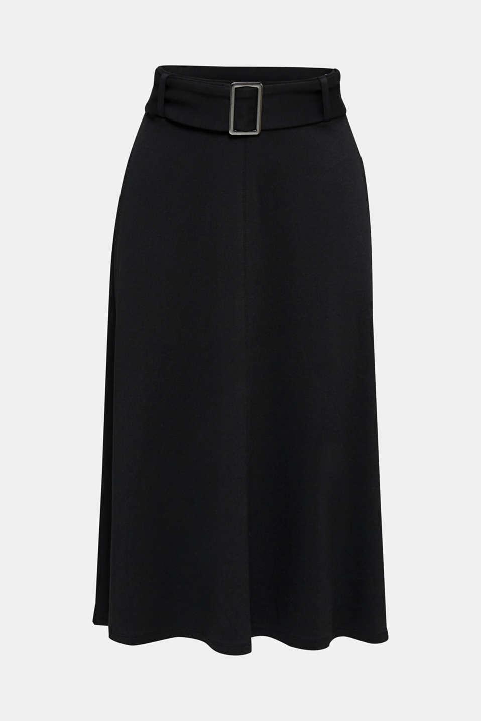 Melange A-line jersey skirt, BLACK, detail image number 6