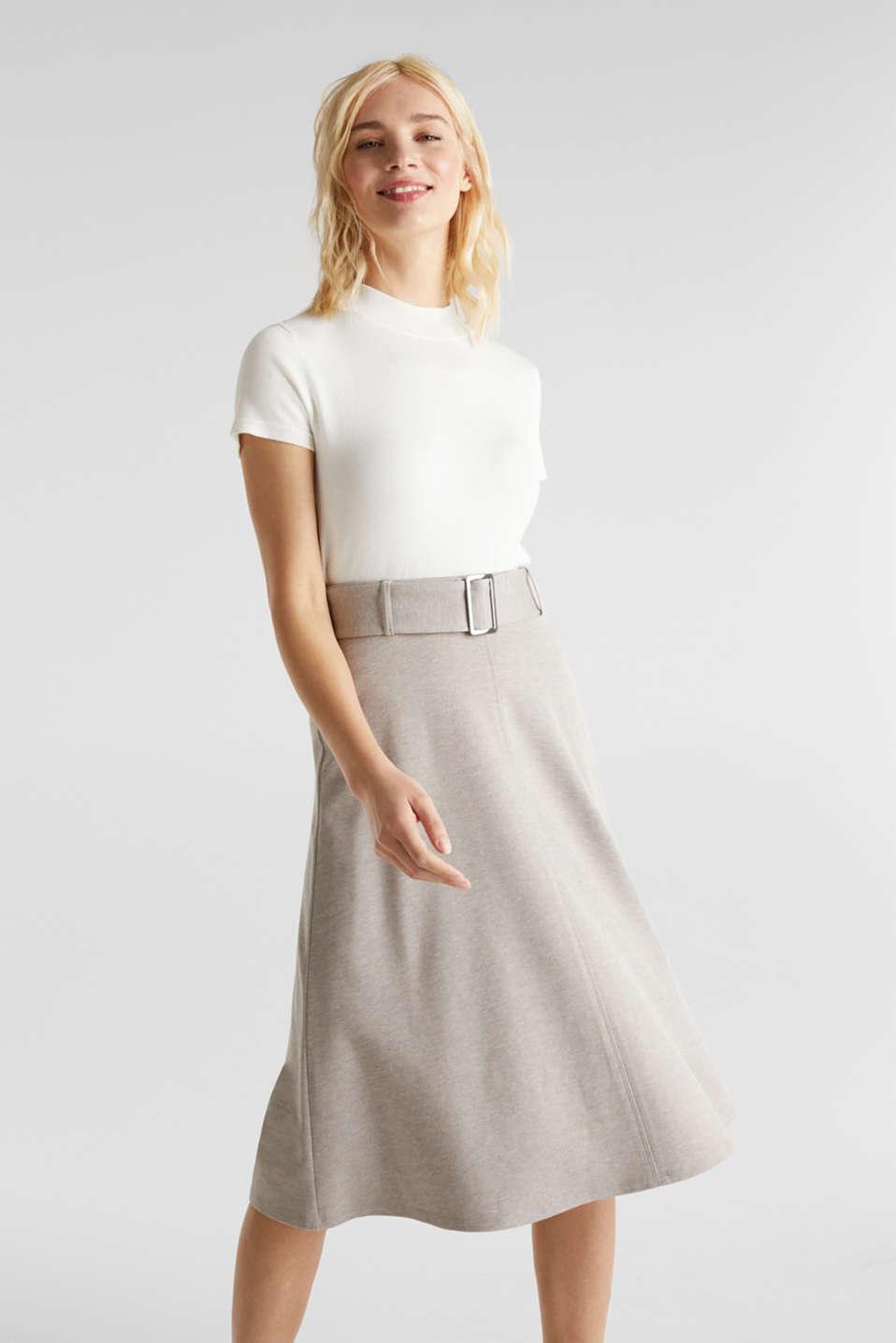 Melange A-line jersey skirt, LIGHT BEIGE, detail image number 0