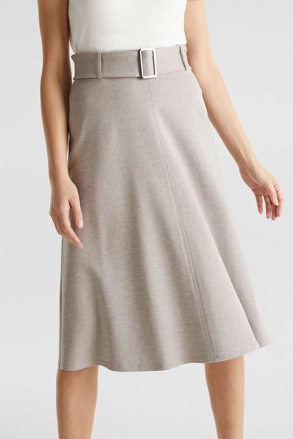 Melange A-line jersey skirt, LIGHT BEIGE, detail image number 6