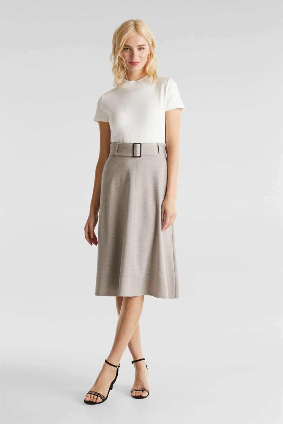 Melange A-line jersey skirt, LIGHT BEIGE, detail image number 1