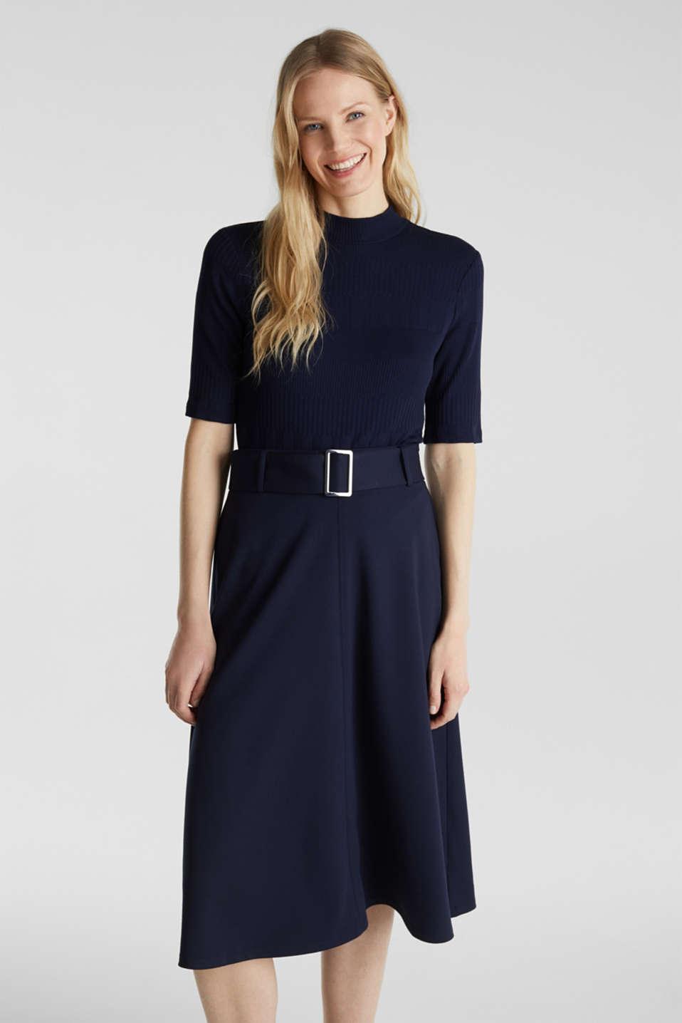 Melange A-line jersey skirt, NAVY, detail image number 0