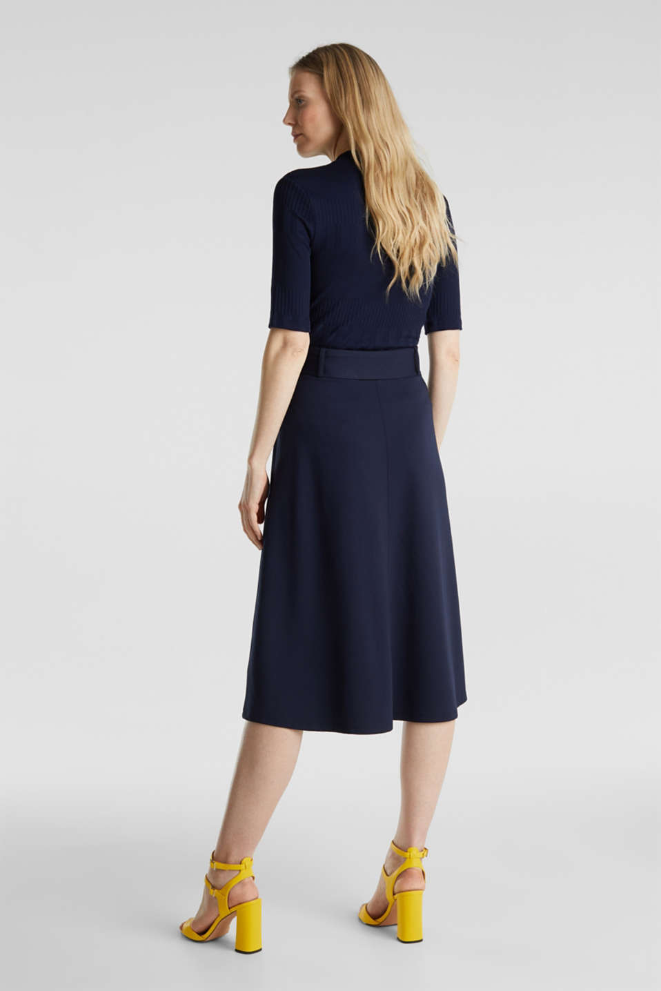 Melange A-line jersey skirt, NAVY, detail image number 3