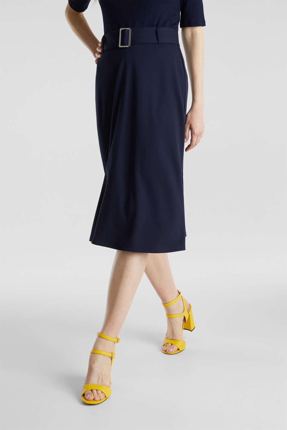 Melange A-line jersey skirt, NAVY, detail image number 5