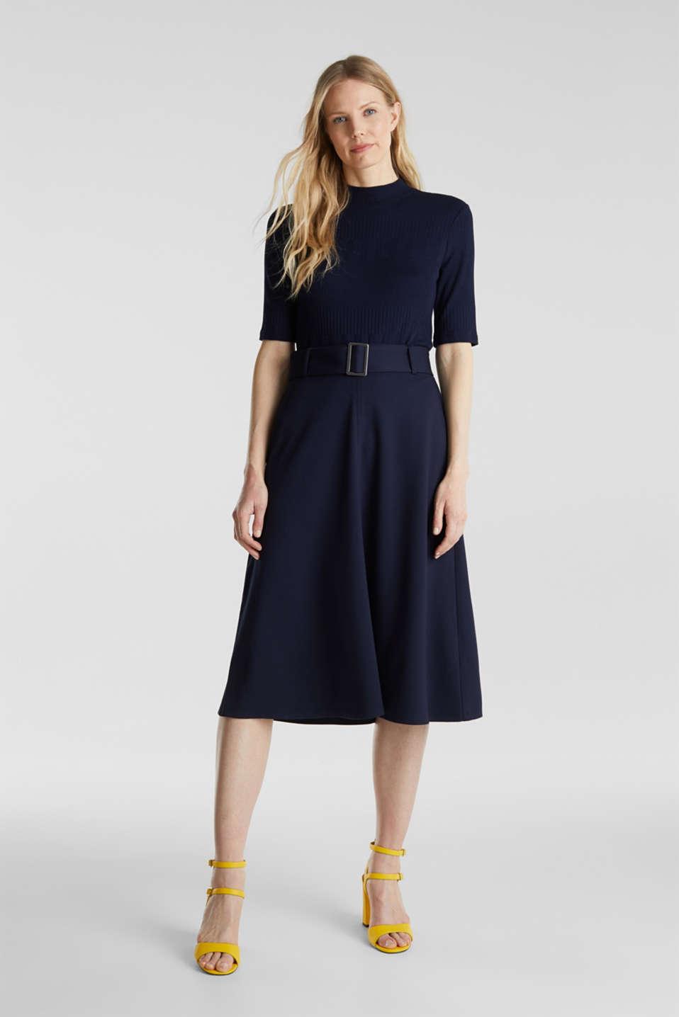 Melange A-line jersey skirt, NAVY, detail image number 1