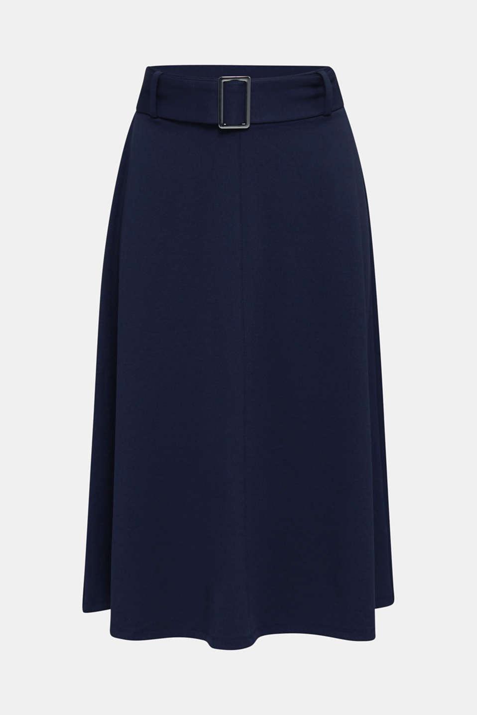 Melange A-line jersey skirt, NAVY, detail image number 6