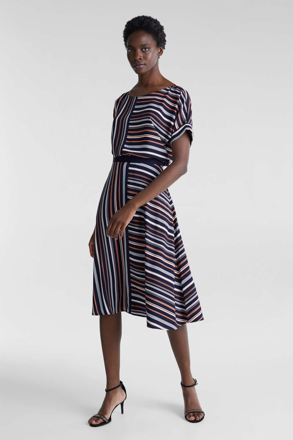 Crêpe skirt with a striped print, NAVY 2, detail image number 0