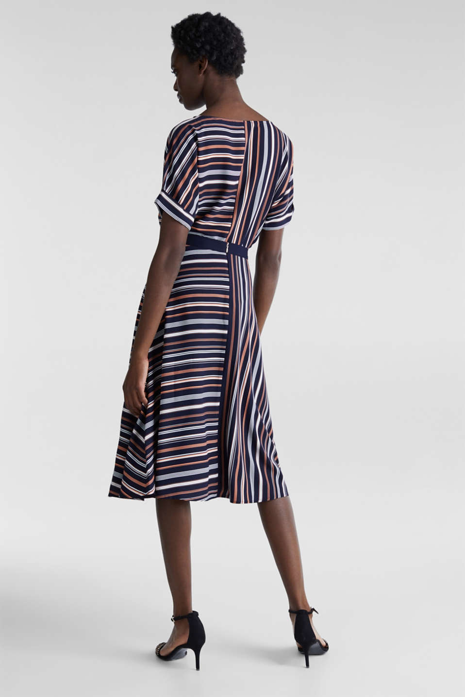 Crêpe skirt with a striped print, NAVY 2, detail image number 3