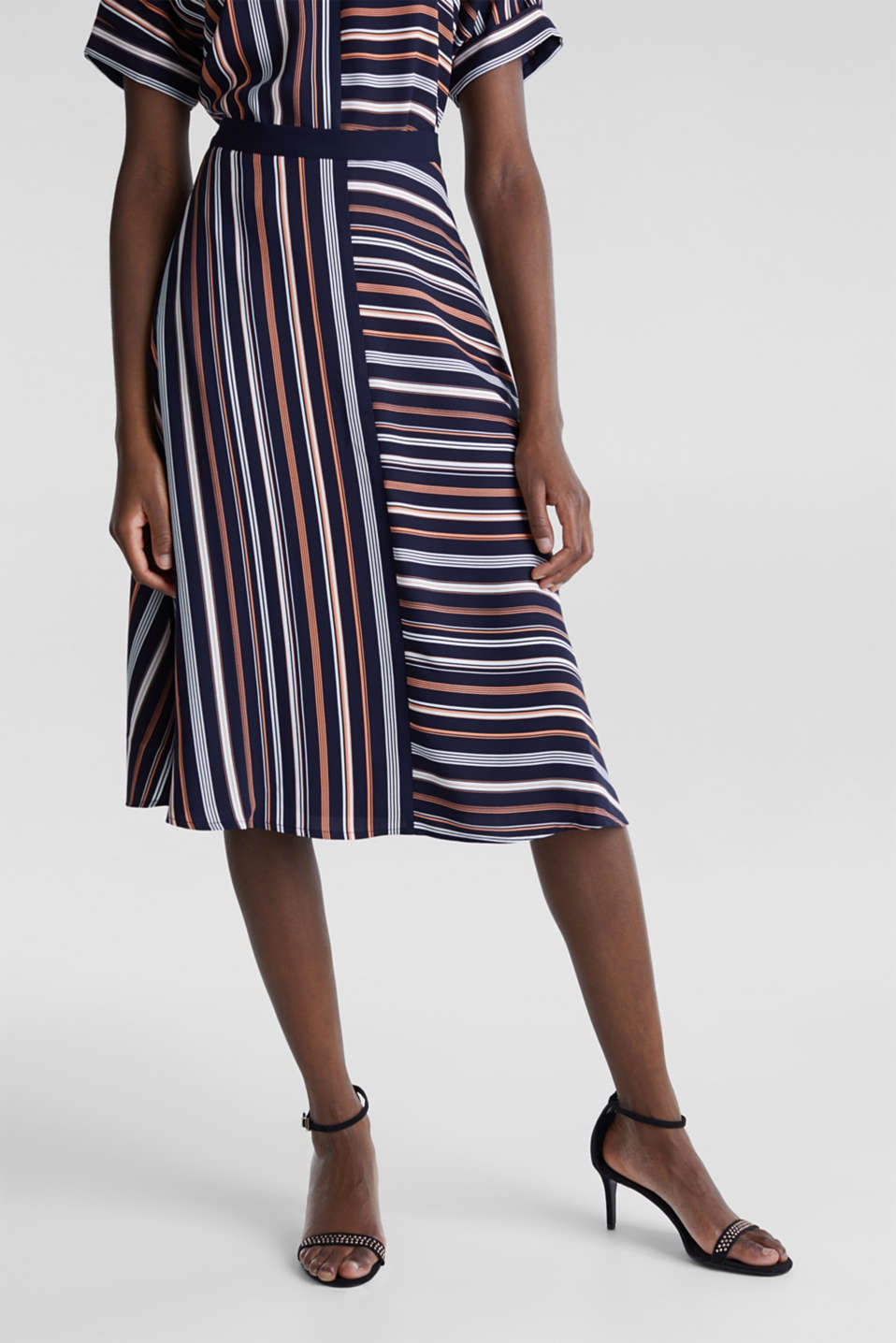 Crêpe skirt with a striped print, NAVY 2, detail image number 5