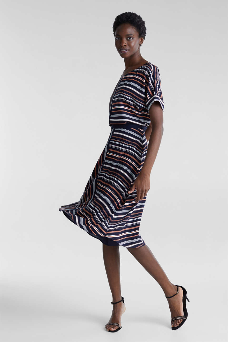 Crêpe skirt with a striped print, NAVY 2, detail