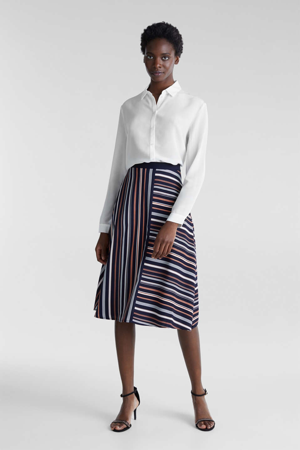 Crêpe skirt with a striped print, NAVY 2, detail image number 6