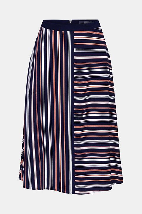 Crêpe skirt with a striped print