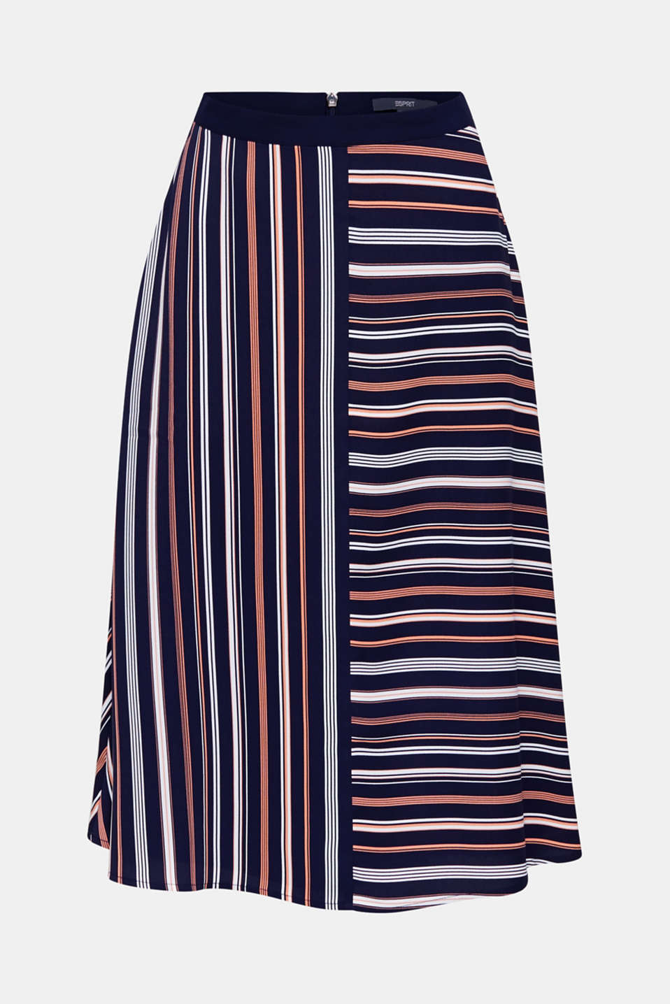 Crêpe skirt with a striped print, NAVY 2, detail image number 7