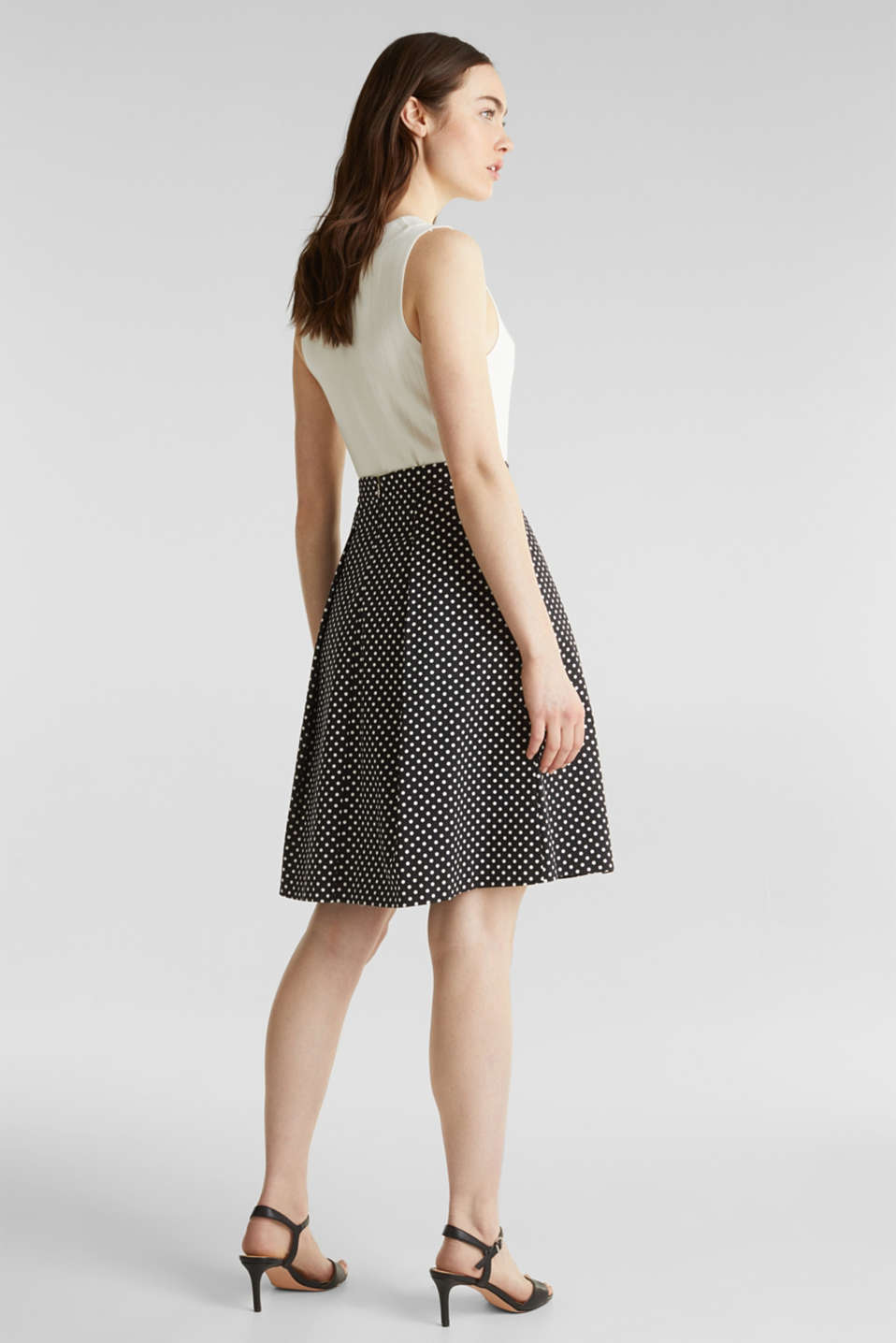 Satined polka dot skirt with stretch, BLACK 3, detail image number 3