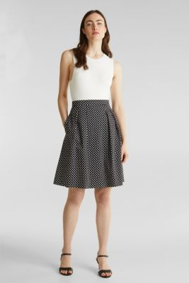 Satined polka dot skirt with stretch, BLACK 3, detail