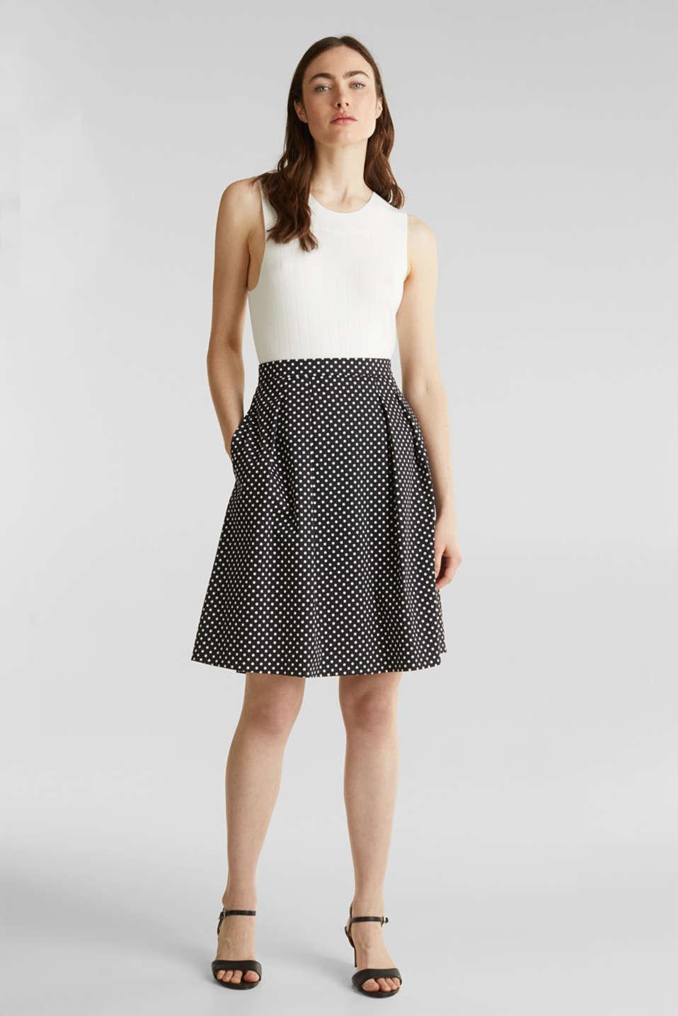Satined polka dot skirt with stretch, BLACK 3, detail image number 1