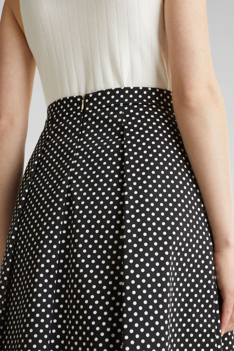 Satined polka dot skirt with stretch, BLACK 3, detail image number 2