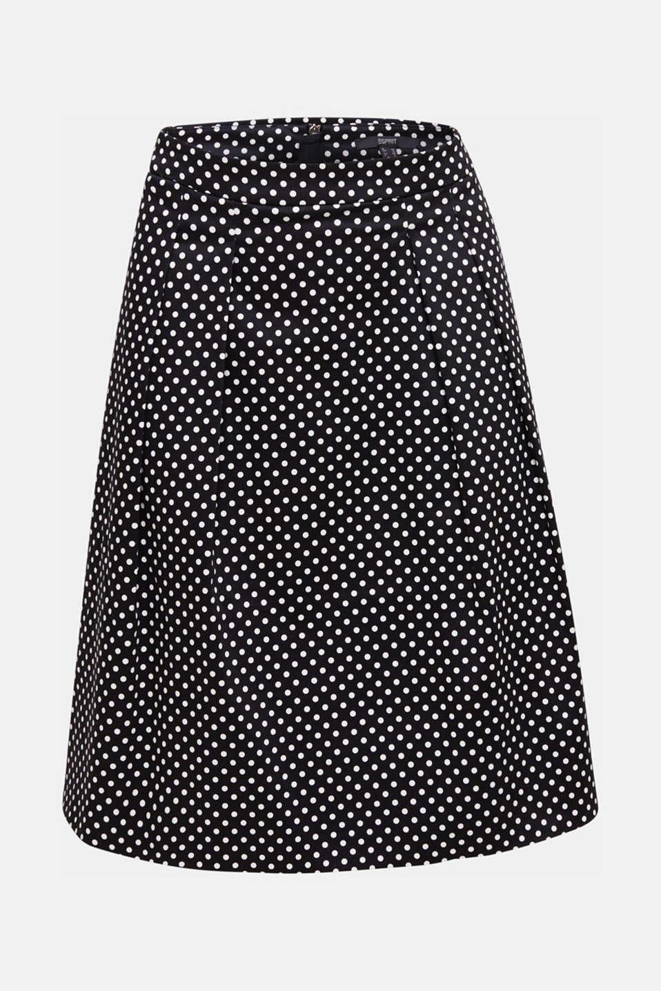 Satined polka dot skirt with stretch, BLACK 3, detail image number 5