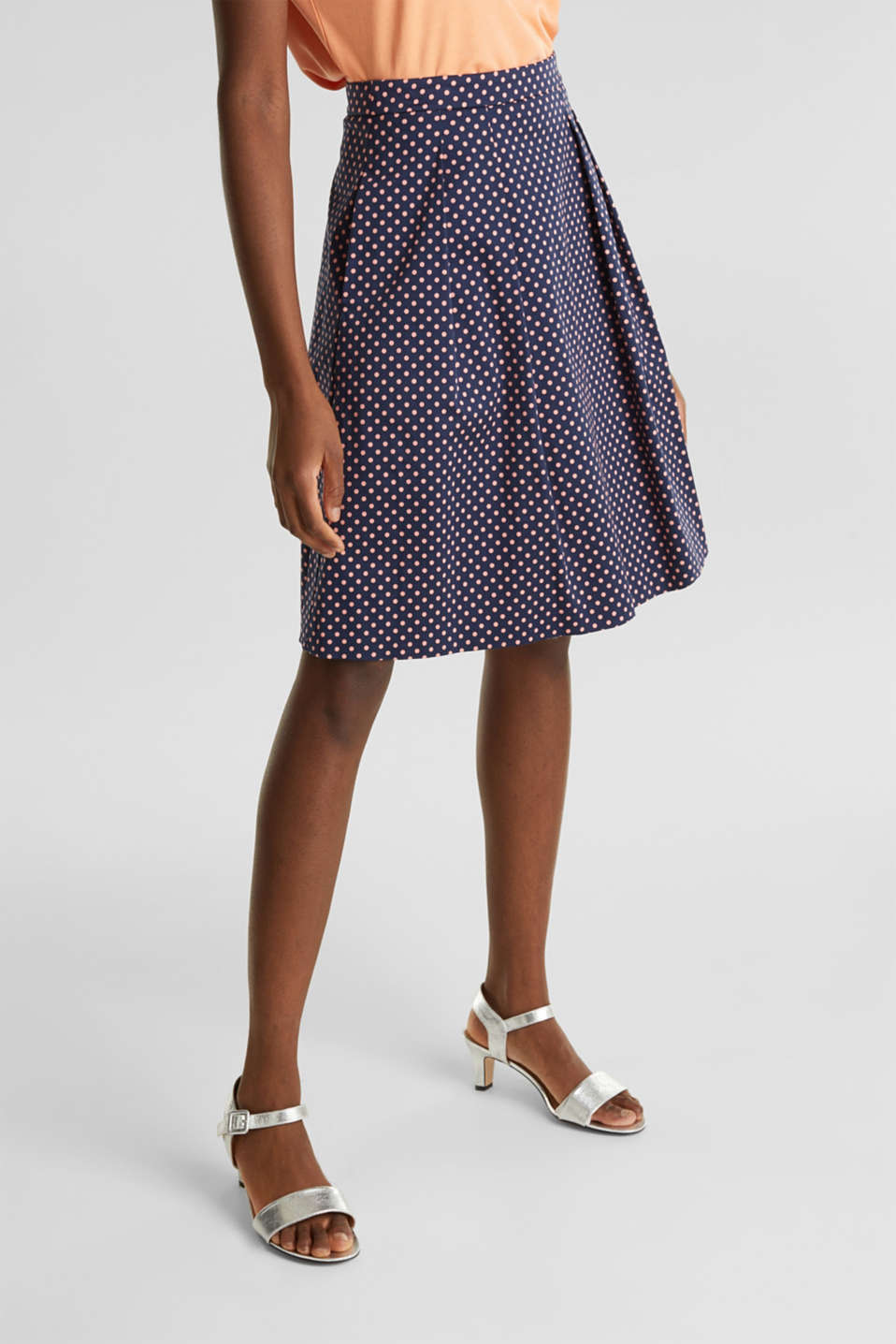 Esprit - Satined polka dot skirt with stretch