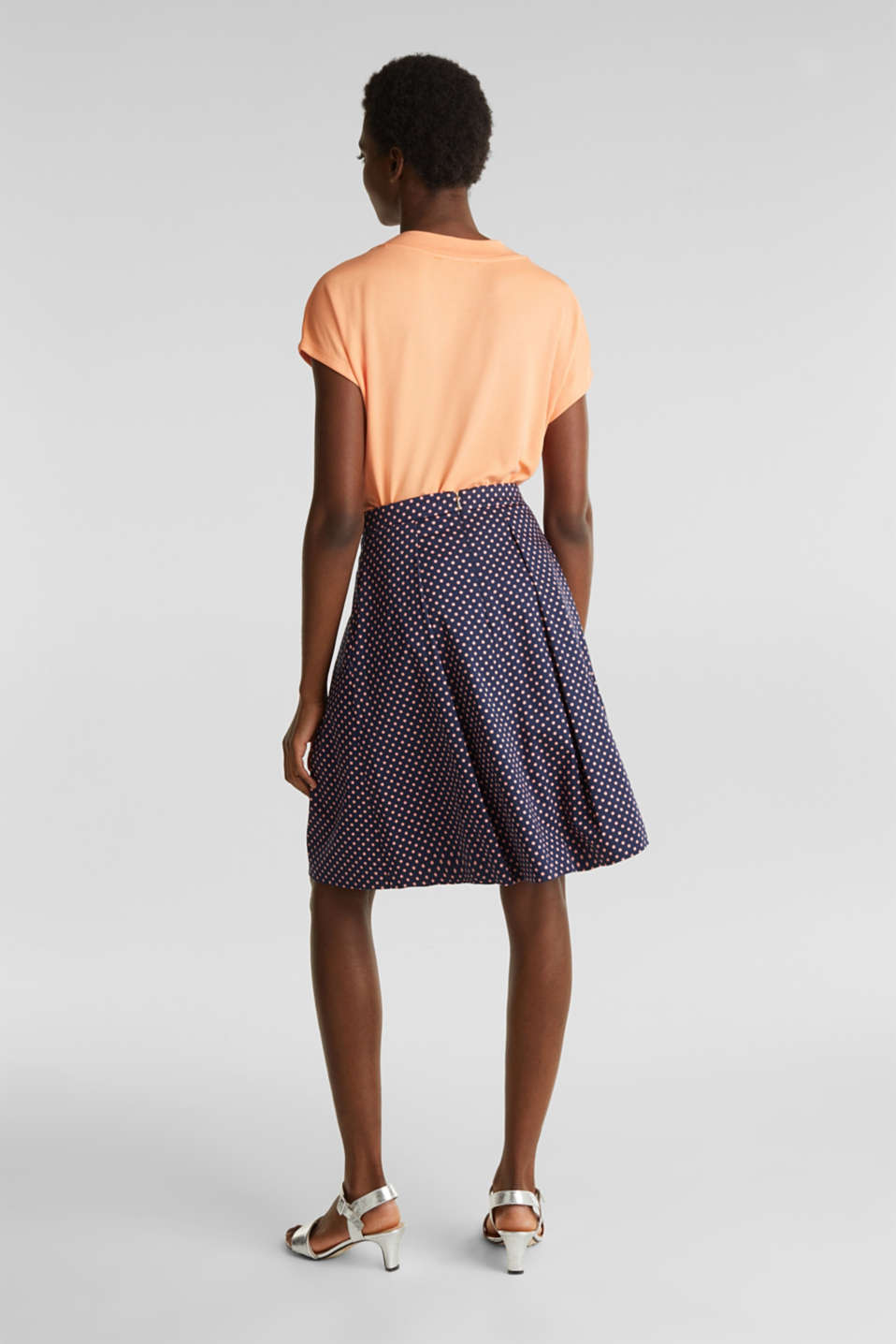 Satined polka dot skirt with stretch, NAVY 4, detail image number 3