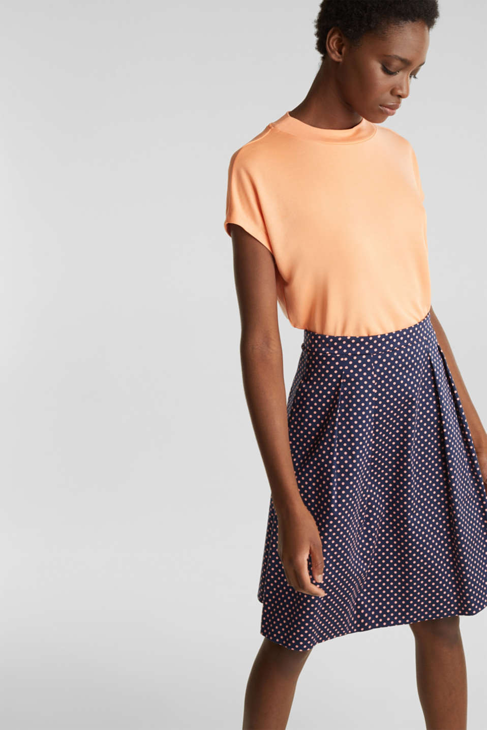 Satined polka dot skirt with stretch, NAVY 4, detail image number 5