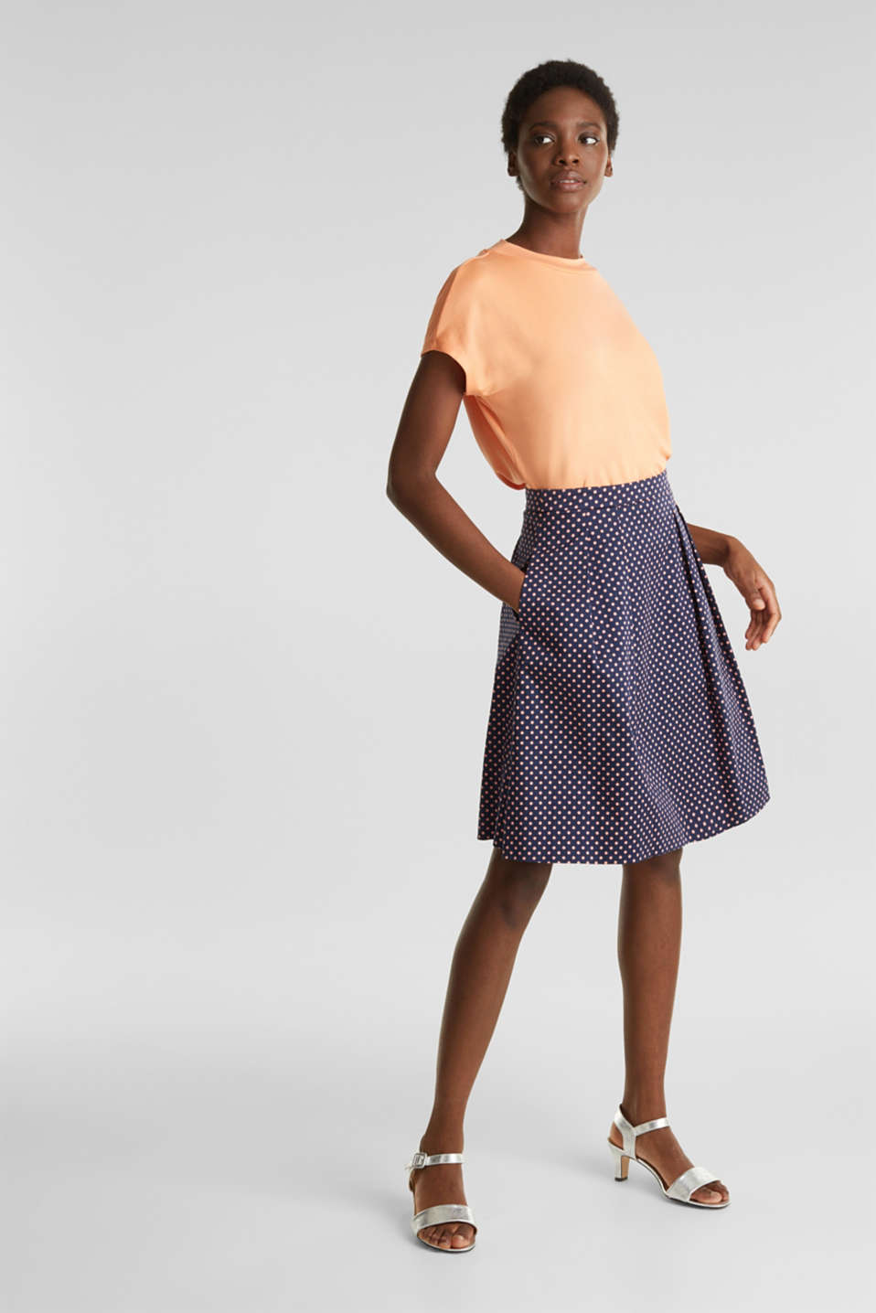 Satined polka dot skirt with stretch, NAVY 4, detail image number 1