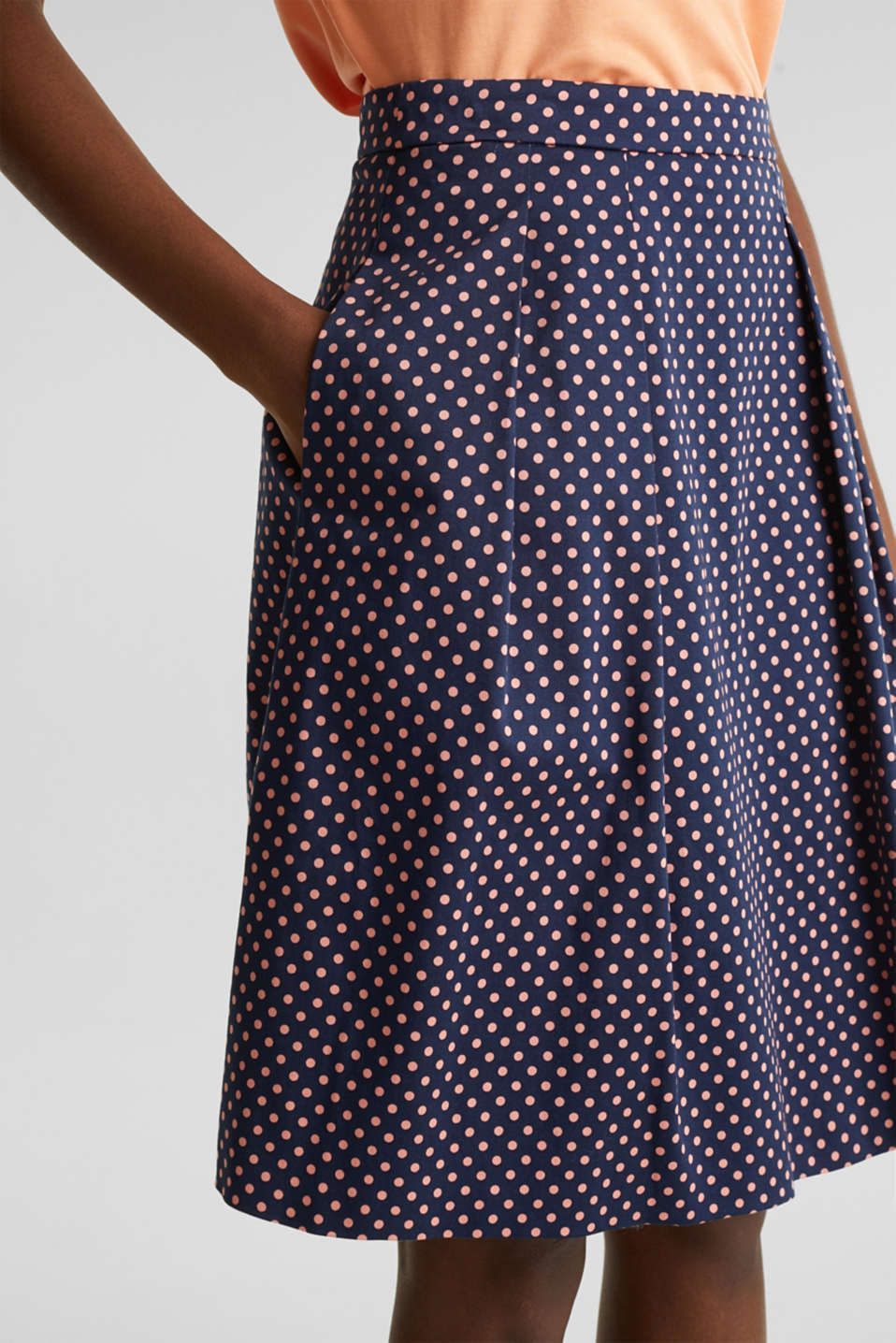 Satined polka dot skirt with stretch, NAVY 4, detail image number 2