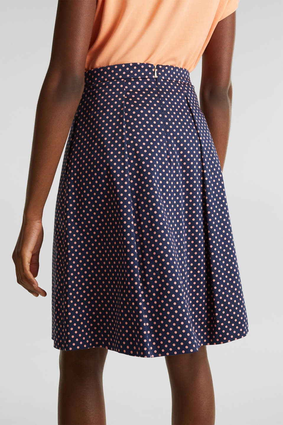 Satined polka dot skirt with stretch, NAVY 4, detail image number 6